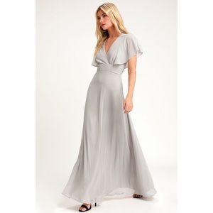Lulu's Dearly Loved Flutter Sleeve Maxi Dress